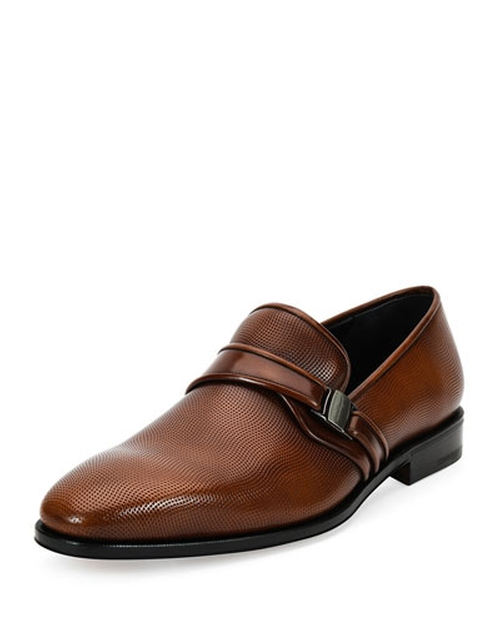 Nygel 2 Textured Leather Loafer by Salvatore Ferragamo	 in Demolition