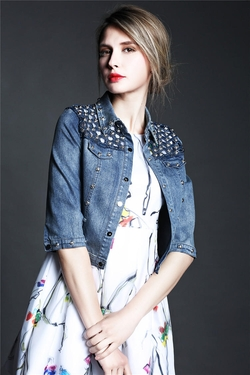 Studded Denim Jacket by YesStyle in Jem and the Holograms