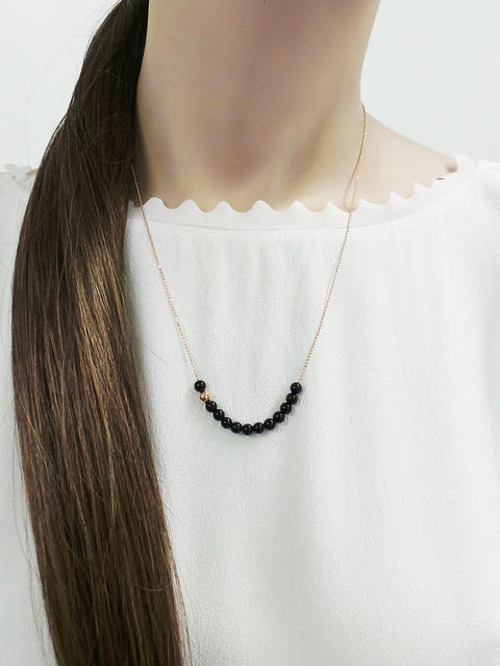 Black Moon Onyx Boulier Necklace by Ginette NY in The Second Best Exotic Marigold Hotel