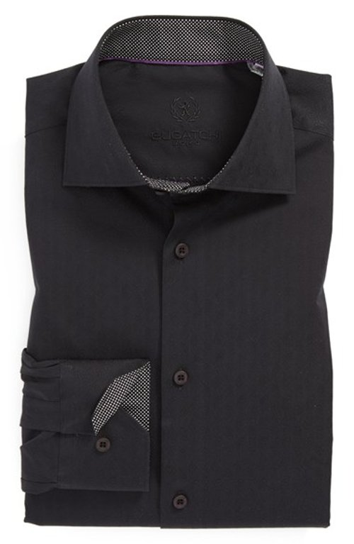 Trim Fit Solid Dress Shirt by Bugatchi in Birdman
