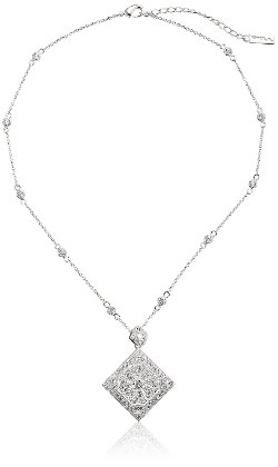 Genny Filigreed Pave Square Pendant Necklace by Nina in The Town