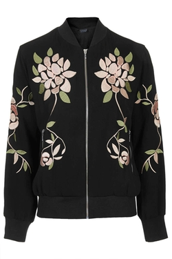 Floral Embroidered Bomber Jacket by Topshop in Scream Queens