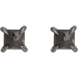 Black Diamond & White Gold Pyramid Studs Earrings by Eva Fehren in That Awkward Moment