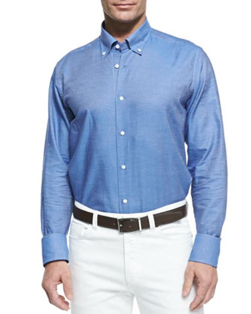 Chambray Button-Down Shirt by Neiman Marcus in What If