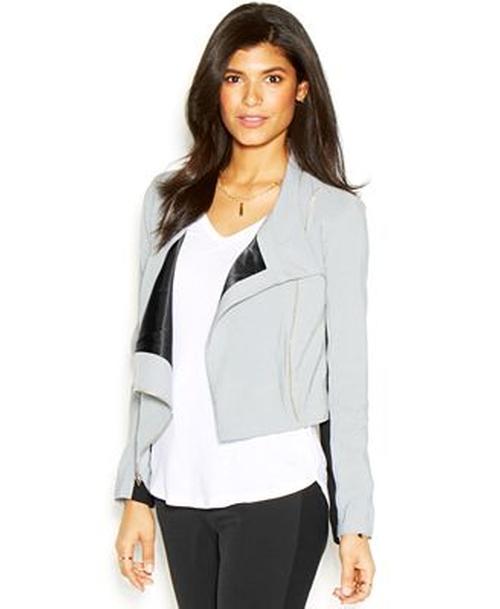 Long-sleeve Colorblocked Cropped Jacket by Rachel Roy in Pretty Little Liars - Season 6 Episode 4