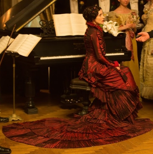 Custom Made Taffeta Victorian Ball Gown by Kate Hawley (Costume Designer) in Crimson Peak