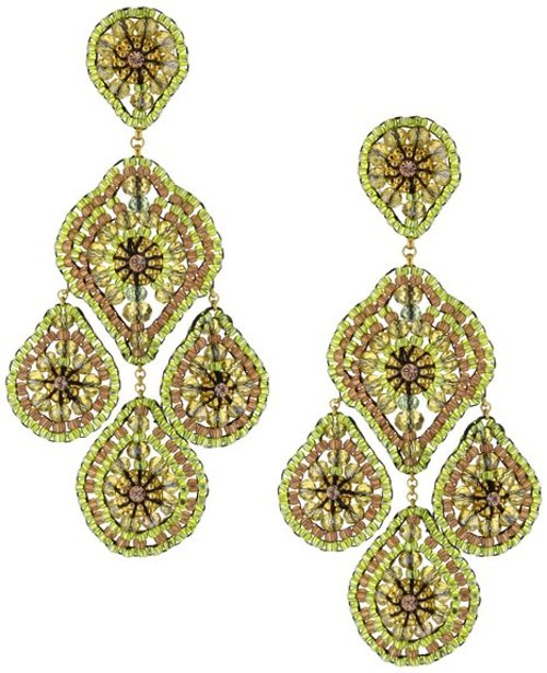 Peridot-Color Bead and Swarovski Filled Drop Earrings by Miguel Ases in Sex and the City 2