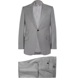 Grey Slim-Fit Wool Suit by Huntsman in Suits