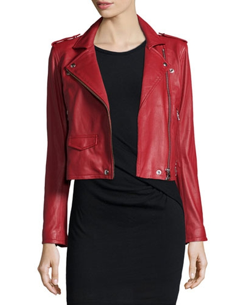 Ashville Leather Moto Jacket by IRO in Scream Queens