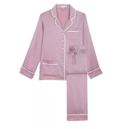 Coco Nougat Silk Pajama Set by Olivia von Halle in Animal Kingdom