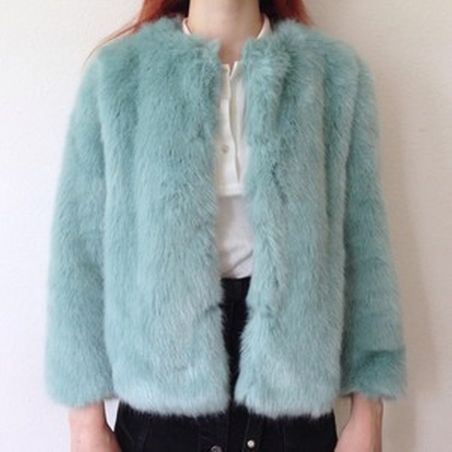 Faux Fur Coat by Zara in Scream Queens - Season 1 Episode 5