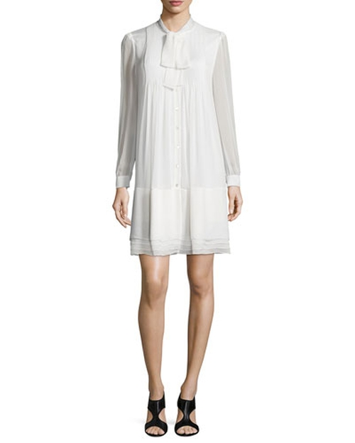 Waverly Silk Button-Front Shift Dress by Diane Von Furstenberg in By the Sea