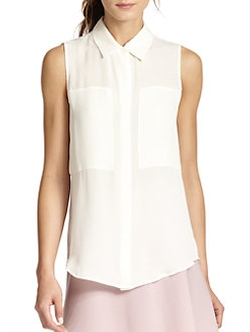 Duria Silk Sleeveless Blouse by Theory in Empire
