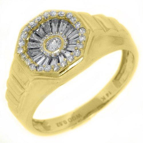 14k Yellow Gold Mens Round & Baguette Diamond Pinky Ring by The Jewelry Master in Mortdecai