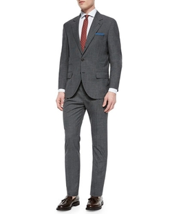 Houndstooth Two-Piece Wool Suit by Brunello Cucinelli in Bridge of Spies