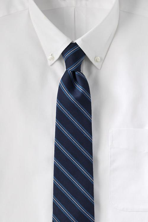 Men's Silk Wool Thin Stripe Necktie by Lands' End in Prisoners