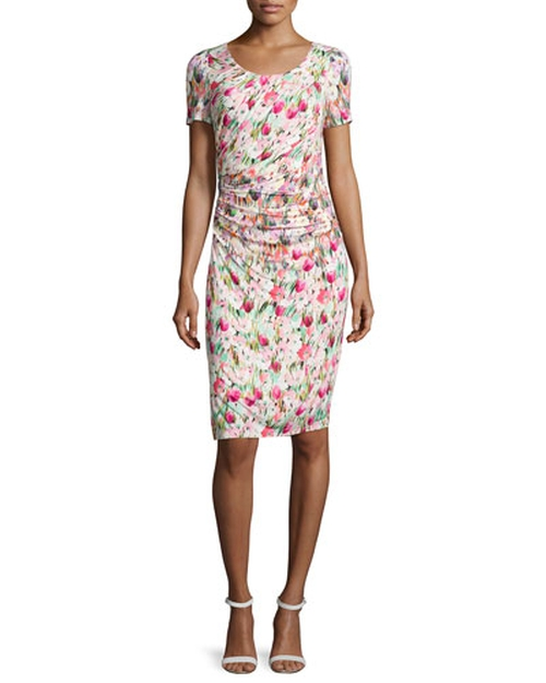 Short-Sleeve Floral-Print Ruched Jersey Dress by Kay Unger New York in Ashby
