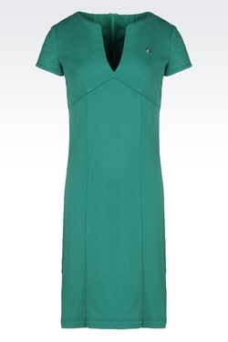 Cotton Blend Sheath Dress by Armiani Jeans in Spy