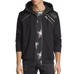 Leather-Trim Zip Hoodie by Just Cavalli in Power