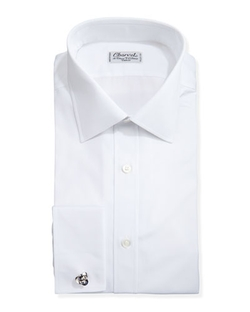 Solid Poplin-French Cuff Shirt by Charvet in Suits