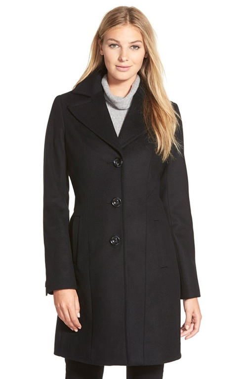 Single Breasted Wool Blend Coat by Kristen Blake in Master of None