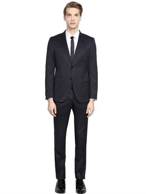 Slim Fit Stretch Techno Twill Suit by Manuel Ritz in Elf