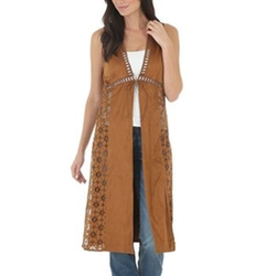 Women's Faux Suede Laser Cut Duster by Wrangler in Fuller House