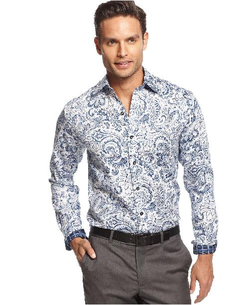 Taffey Paisley Shirt by Tasso Elba in Sabotage