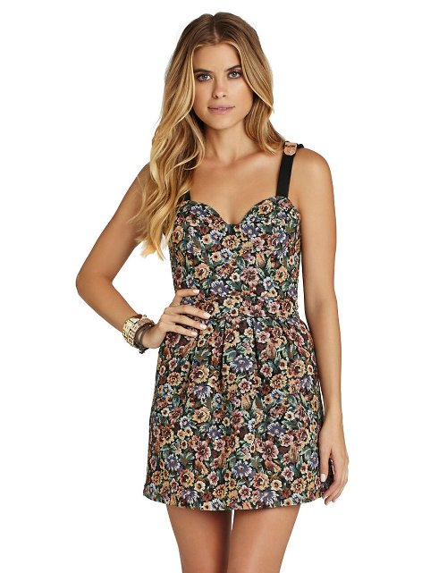 Floral Faux Leather Bustier Dress by BCBGENERATION in That Awkward Moment