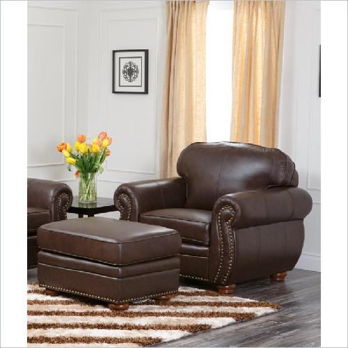 Premium Italian Leather Armchair and Ottoman Set by Richfield in Oculus