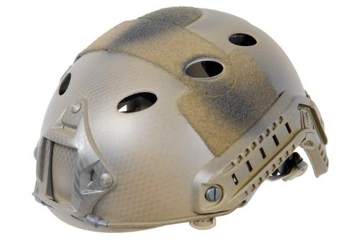 PJ Type with Rails and Velcro, Navy Seal Custom Tan by Lancer Tactical FAST Helmet in Sabotage