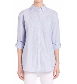 Margaux Stripe Cotton Shirt by Equipment in Supergirl