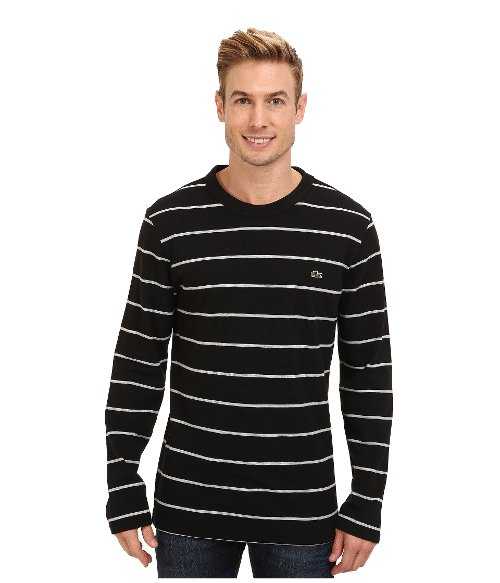 Pique Stripe Crew Neck T-Shirt by Lacoste in Begin Again