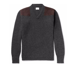 Merlin's Suede-Panelled Ribbed Wool Sweater by Kingsman in Kingsman: The Golden Circle