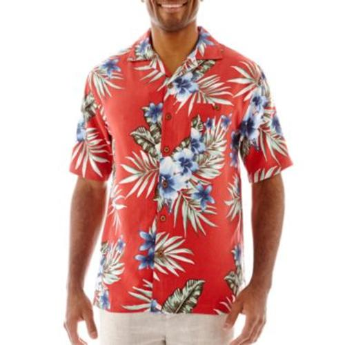 Island Shores Short-Sleeve Silk Floral Shirt by JcPenney in Lucy