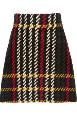 Plaid Wool And Cotton Blend Bouclé Tweed Mini Skirt by Miu Miu  in Elementary