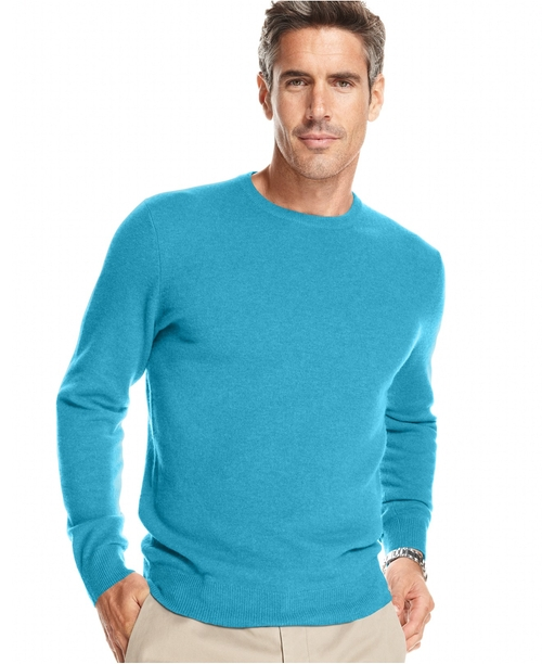 Cashmere Crew-Neck Sweater by Club Room in Fifty Shades of Black