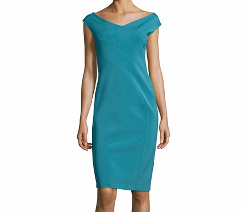 V-Neck Jersey Sheath Dress by Lafayette 148 New York in The Wolf of Wall Street