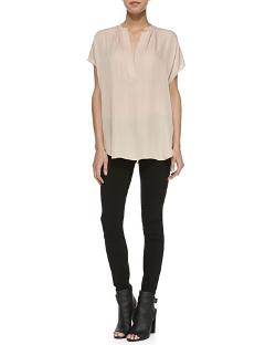 Cap-Sleeve Popover Blouse by Vince in Unbroken