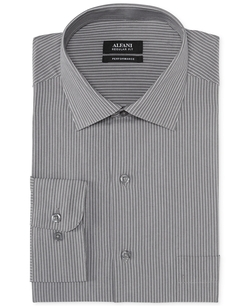 Grey Stripe Performance Dress Shirt by Alfani in Elementary