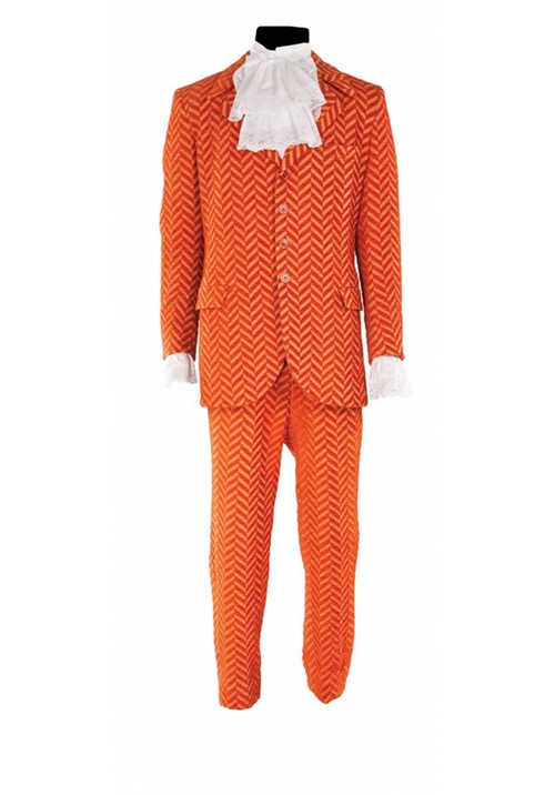 Custom Made Orange Striped Chenille Suit by Deena Appel (Costume Designer) in Austin Powers in Goldmember