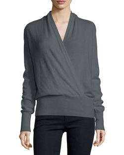 Faux-Wrap Cashmere Sweater by Neiman Marcus in Suits