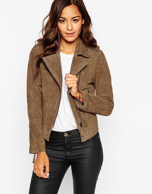 Suede Biker Jacket In Oil Wash by Asos in Keeping Up With The Kardashians - Season 11 Episode 11