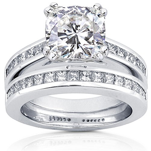 Moissanite Diamond Bridal Set Ring by Kobelli Moissanite in Bridesmaids