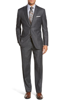 Ryan Classic Fit Plaid Wool Suit by David Donahue in Valentine's Day