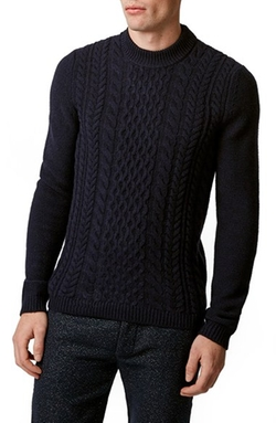 Cable Knit Front Crewneck Sweater by Topman in Whiskey Tango Foxtrot