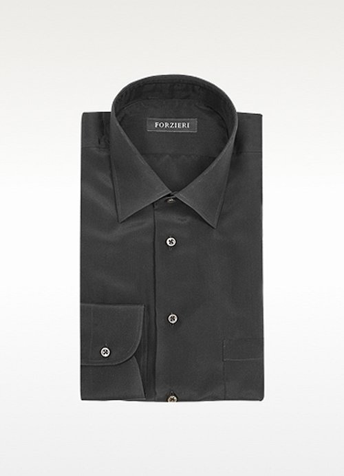 Dramatic Black Silk Dress Shirt by Forzieri in Pitch Perfect 2
