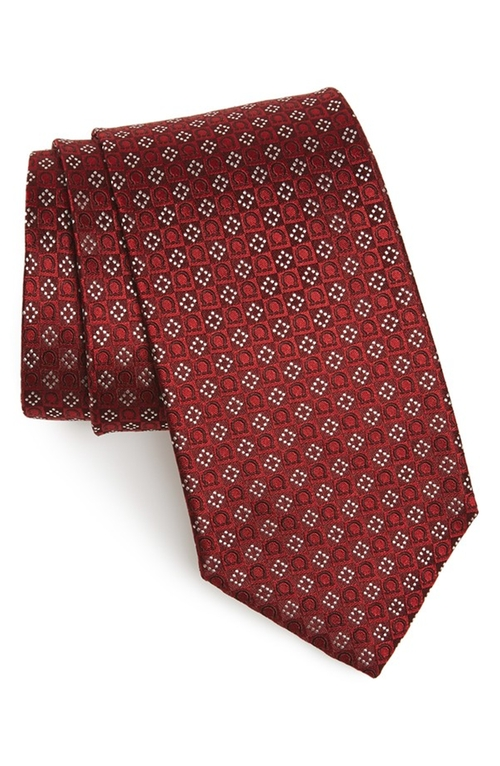 Gancini Grid Silk Tie by Salvatore Ferragamo in The Mindy Project