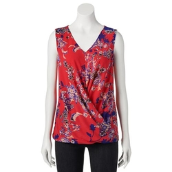 Printed Crossover Mesh Top by Dana Buchman in 99 Homes