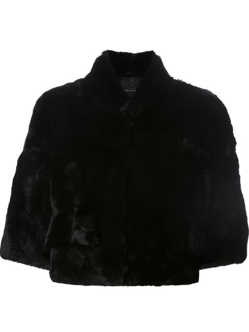 Half Sleeve Rabbit Fur Jacket by H Brand in Scream Queens
